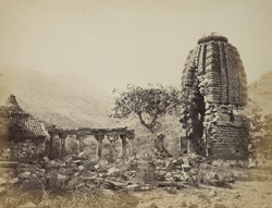 View of shikara of ruined temple, Ghumli, Kathiawar